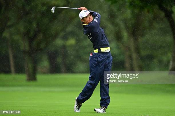 Mao Nozawa of Japan hits her second shot on the 1st hole during the final round of the Nitori Ladies Golf Tournament at the Otaru Country Club on...