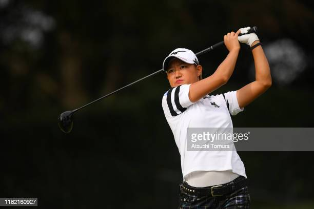 Mao Nozawa of Japan hits her tee shot on the 11th hole during the final round of Fujitsu Ladies at Tokyu Seven Hundred Club on October 20 2019 in...