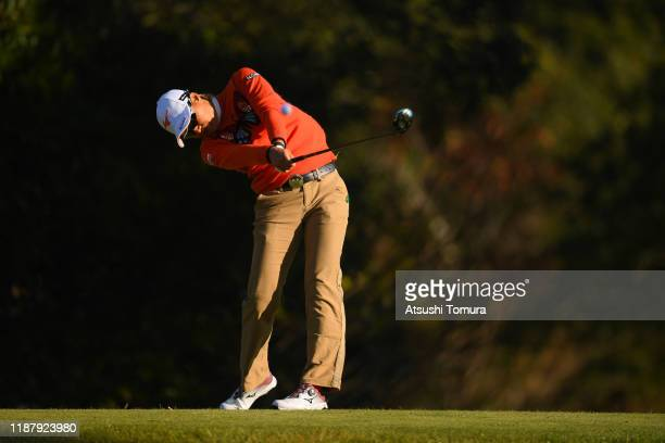 Mao Nozawa of Japan hits her tee shot on the 11th hole during the second round of the ItoEn Ladies at Great Island Club on November 16 2019 in Chonan...