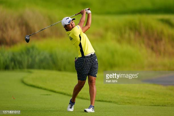 Mao Nozawa of Japan hits her tee shot on the 11th hole during the second round of the JLPGA Championship Konica Minolta Cup at the JFE Setonaikai...