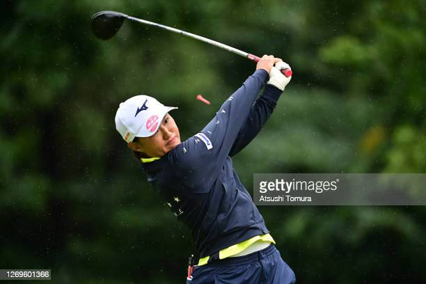Mao Nozawa of Japan hits her tee shot on the 2nd hole during the final round of the Nitori Ladies Golf Tournament at the Otaru Country Club on August...
