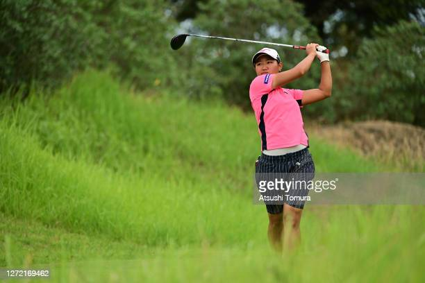 Mao Nozawa of Japan hits her tee shot on the 2nd hole during the final round of the JLPGA Championship Konica Minolta Cup at the JFE Setonaikai Golf...