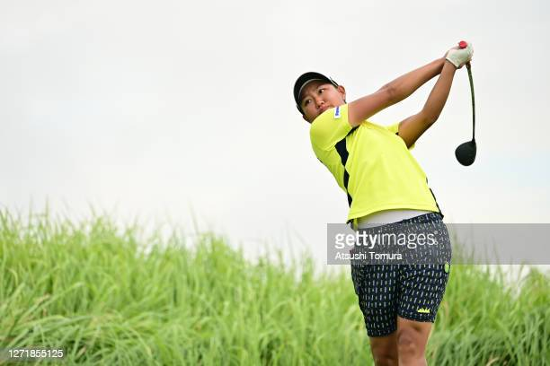 Mao Nozawa of Japan hits her tee shot on the 5th hole during the second round of the JLPGA Championship Konica Minolta Cup at the JFE Setonaikai Golf...