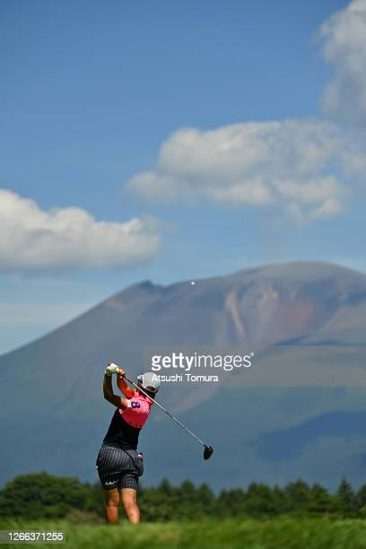 Mao Nozawa of Japan hits her tee shot on the 7th hole during the second round of the NEC Karuizawa 72 Golf Tournament at the Karuizawa 72 Golf Kita...
