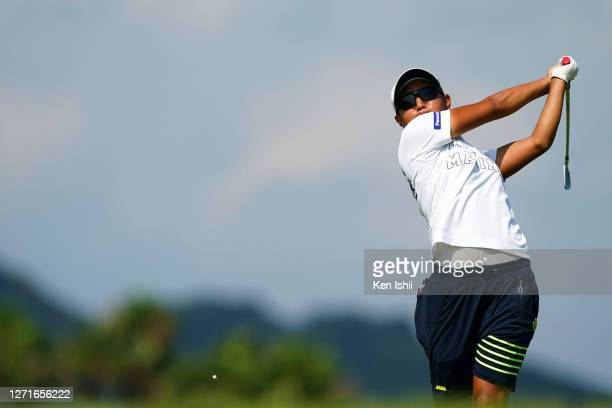 Mao Nozawa of Japan hits her tee shot on the 8th hole during the first round of the JLPGA Championship Konica Minolta Cup at the JFE Setonaikai Golf...