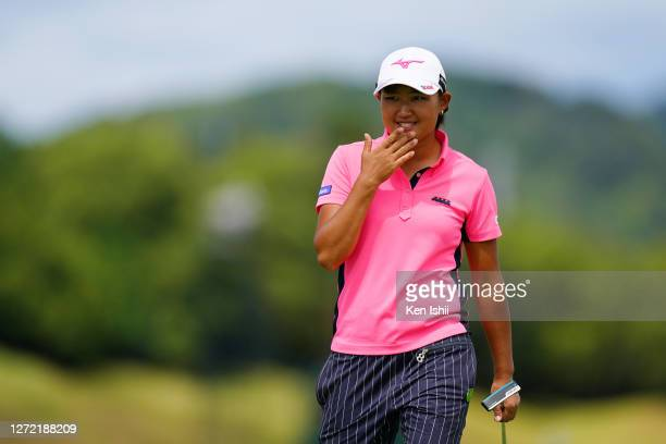Mao Nozawa of Japan is seen on the 11th green during the final round of the JLPGA Championship Konica Minolta Cup at the JFE Setonaikai Golf Club on...
