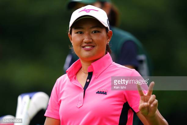 Mao Nozawa of Japan poses after her tee shot on the 14th hole during the second round of the Earth Mondamin Cup at the Camellia Hills Country Club on...