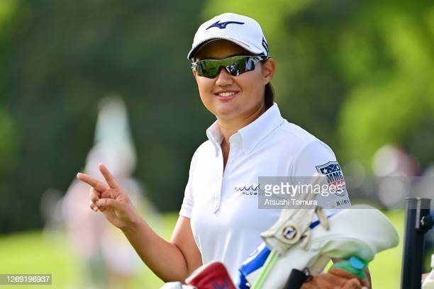 Mao Nozawa of Japan poses on the 12th hole during the second round of the Nitori Ladies Golf Tournament at the Otaru Country Club on August 28 2020...
