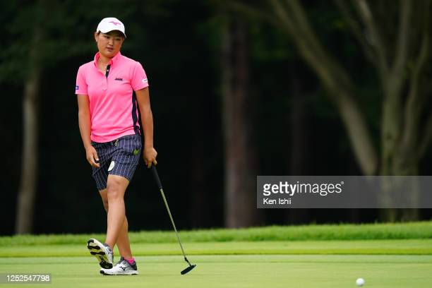 Mao Nozawa of Japan reacts after a putt on the 13th green during the second round of the Earth Mondamin Cup at the Camellia Hills Country Club on...