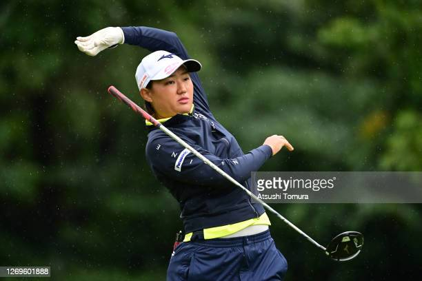 Mao Nozawa of Japan reacts after her tee shot on the 2nd hole during the final round of the Nitori Ladies Golf Tournament at the Otaru Country Club...