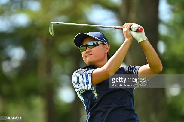 Mao Nozawa of Japan smiles on the 12th hole during a practice round ahead of the NEC Karuizawa 72 Golf Tournament at the Karuizawa 72 Golf Kita...