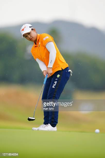 Mao Saigo of Japan attempts a putt on the 11th green during the second round of the JLPGA Championship Konica Minolta Cup at the JFE Setonaikai Golf...