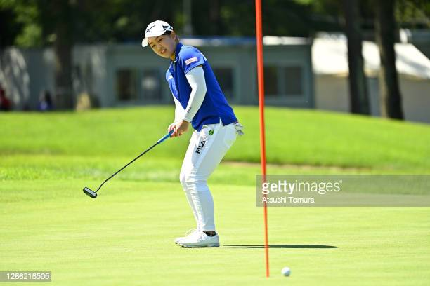 Mao Saigo of Japan attempts a putt on the 18th green during the first round of the NEC Karuizawa 72 Golf Tournament at the Karuizawa 72 Golf Kita...