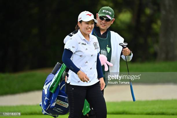 Mao Saigo of Japan celebrates the birdie on the 14th green during the final round of the Earth Mondamin Cup at the Camellia Hills Country Club on...