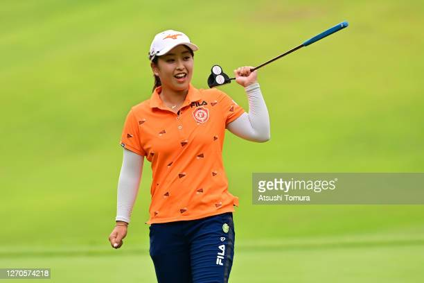 Mao Saigo of Japan celebrates the birdie on the 17th green during the first round of the GOLF5 Ladies Tournament at the GOLF5 Country Mizunami Course...