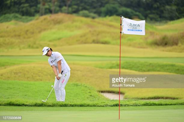 Mao Saigo of Japan chips onto the 6th green during the third round of the JLPGA Championship Konica Minolta Cup at the JFE Setonaikai Golf Club on...