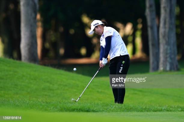 Mao Saigo of Japan chips onto the on the 18th green during the final round of the Earth Mondamin Cup at the Camellia Hills Country Club on June 29...
