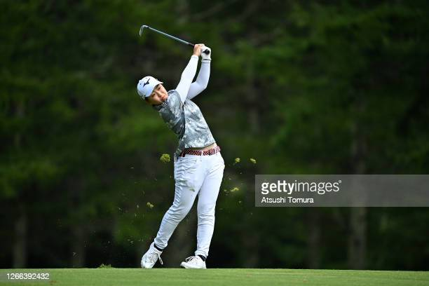 Mao Saigo of Japan hits her second shot on the 14th hole during the second round of the NEC Karuizawa 72 Golf Tournament at the Karuizawa 72 Golf...