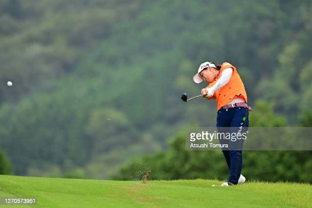 Mao Saigo of Japan hits her second shot on the 16th hole during the first round of the GOLF5 Ladies Tournament at the GOLF5 Country Mizunami Course...