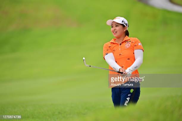 Mao Saigo of Japan hits her second shot on the 18th hole during the first round of the GOLF5 Ladies Tournament at the GOLF5 Country Mizunami Course...