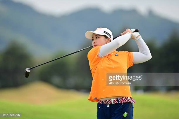Mao Saigo of Japan hits her second shot on the 2nd hole during the second round of the JLPGA Championship Konica Minolta Cup at the JFE Setonaikai...