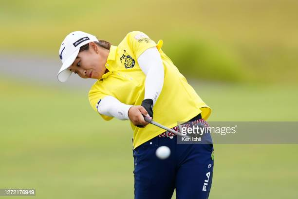 Mao Saigo of Japan hits her second shot on the 4th hole during the final round of the JLPGA Championship Konica Minolta Cup at the JFE Setonaikai...