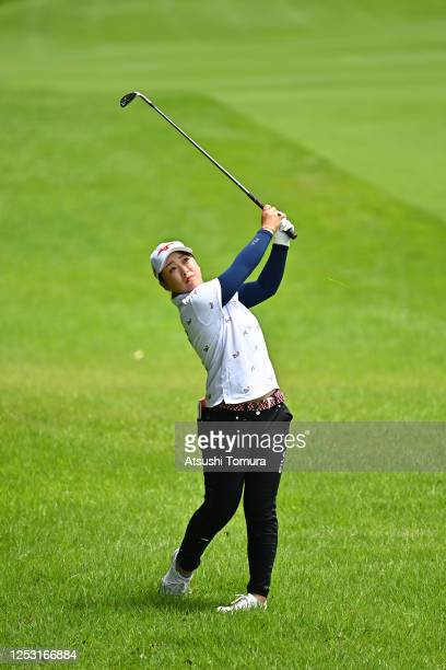 Mao Saigo of Japan hits her second shot on the 5th hole during the final round of the Earth Mondamin Cup at the Camellia Hills Country Club on June...