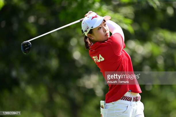 Mao Saigo of Japan hits her tee shot on the 14th hole during the second round of the Nitori Ladies Golf Tournament at the Otaru Country Club on...