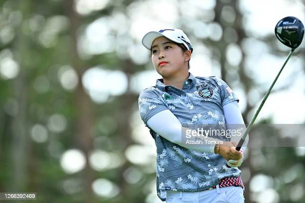 Mao Saigo of Japan hits her tee shot on the 15th hole during the second round of the NEC Karuizawa 72 Golf Tournament at the Karuizawa 72 Golf Kita...