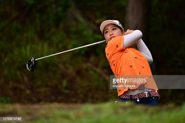 Mao Saigo of Japan hits her tee shot on the 17th hole during the first round of the GOLF5 Ladies Tournament at the GOLF5 Country Mizunami Course on...