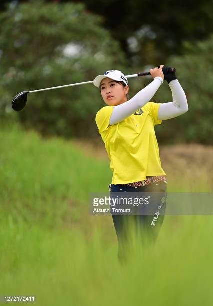 Mao Saigo of Japan hits her tee shot on the 2nd hole during the final round of the JLPGA Championship Konica Minolta Cup at the JFE Setonaikai Golf...