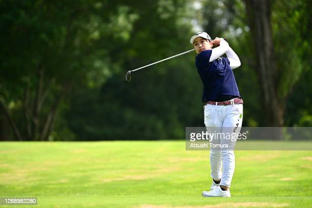 Mao Saigo of Japan hits her tee shot on the 2nd hole during the first round of the Nitori Ladies Golf Tournament at the Otaru Country Club on August...