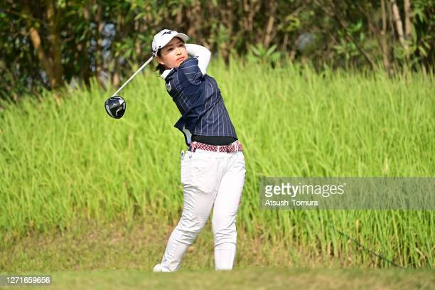 Mao Saigo of Japan hits her tee shot on the 2nd hole during the first round of the JLPGA Championship Konica Minolta Cup at the JFE Setonaikai Golf...