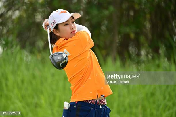 Mao Saigo of Japan hits her tee shot on the 2nd hole during the second round of the JLPGA Championship Konica Minolta Cup at the JFE Setonaikai Golf...