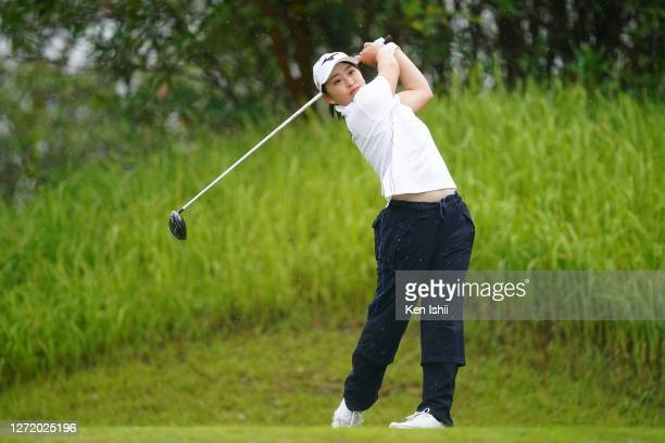 Mao Saigo of Japan hits her tee shot on the 2nd hole during the third round of the JLPGA Championship Konica Minolta Cup at the JFE Setonaikai Golf...