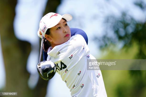 Mao Saigo of Japan hits her tee shot on the 3rd hole during the final round of the Earth Mondamin Cup at the Camellia Hills Country Club on June 29...