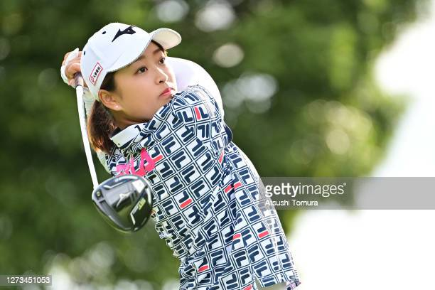 Mao Saigo of Japan hits her tee shot on the 3rd hole during the second round of the Descente Ladies Tokai Classic at the Shin Minami Aichi Country...