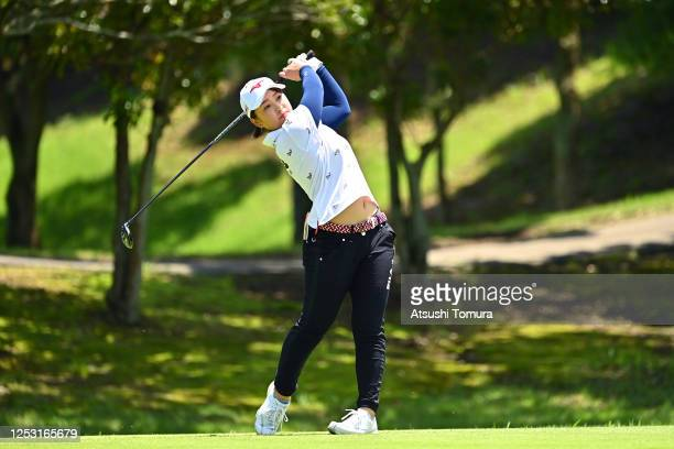Mao Saigo of Japan hits her tee shot on the 5th hole during the final round of the Earth Mondamin Cup at the Camellia Hills Country Club on June 29...