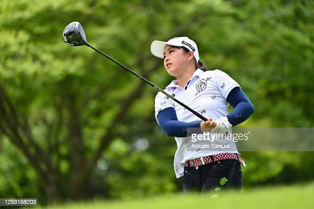 Mao Saigo of Japan hits her tee shot on the 6th hole during the final round of the Earth Mondamin Cup at the Camellia Hills Country Club on June 29...