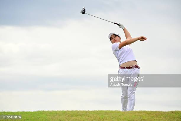 Mao Saigo of Japan hits her tee shot on the 7th hole during the third round of the JLPGA Championship Konica Minolta Cup at the JFE Setonaikai Golf...