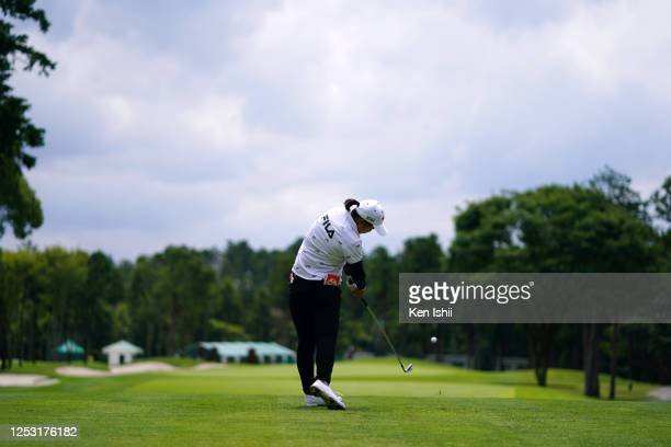 Mao Saigo of Japan hits her tee shot on the 9th hole during the final round of the Earth Mondamin Cup at the Camellia Hills Country Club on June 29...