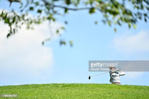 Mao Saigo of Japan hits her tee shot on the 9th hole during the second round of the NEC Karuizawa 72 Golf Tournament at the Karuizawa 72 Golf Kita...