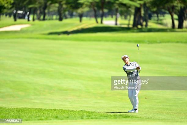 Mao Saigo of Japan hits her third shot on the 9th hole during the second round of the NEC Karuizawa 72 Golf Tournament at the Karuizawa 72 Golf Kita...