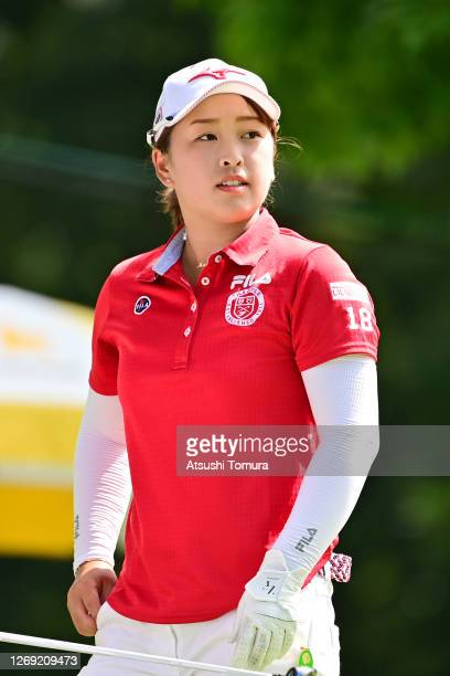 Mao Saigo of Japan is seen after her tee shot on the 14th hole during the second round of the Nitori Ladies Golf Tournament at the Otaru Country Club...