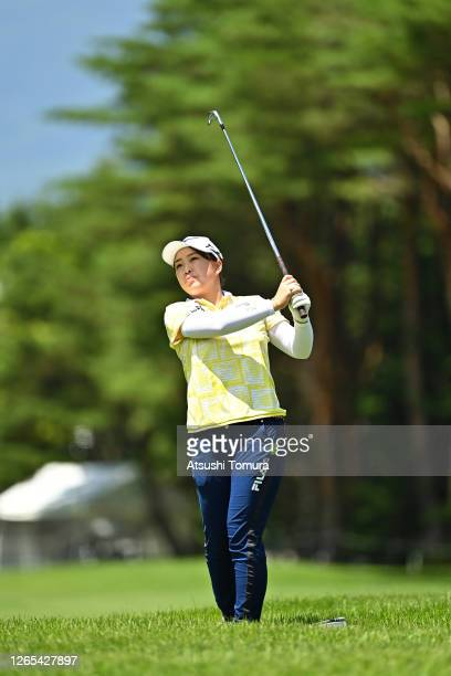Mao Saigo of Japan plays a shot on the 1st hole during a practice round ahead of the NEC Karuizawa 72 Golf Tournament at the Karuizawa 72 Golf Kita...
