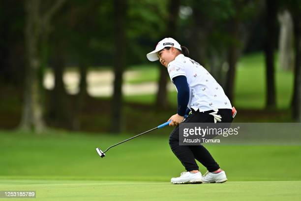 Mao Saigo of Japan reacts after a putt on the 15th green during the final round of the Earth Mondamin Cup at the Camellia Hills Country Club on June...