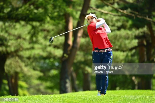 Mao Saigo of Japan reacts after her tee shot on the 4th hole during the final round of the NEC Karuizawa 72 Golf Tournament at the Karuizawa 72 Golf...