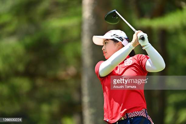 Mao Saigo of Japan reacts after her tee shot on the 5th hole during the final round of the NEC Karuizawa 72 Golf Tournament at the Karuizawa 72 Golf...