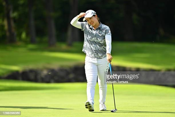 Mao Saigo of Japan reacts after holing out on the 18th green during the second round of the NEC Karuizawa 72 Golf Tournament at the Karuizawa 72 Golf...