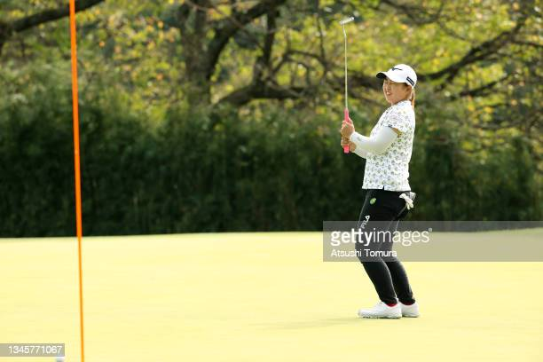Mao Saigo of Japan reacts after missing the birdie putt on the 13th green during the final round of the Stanley Ladies at Tomei Country Club on...